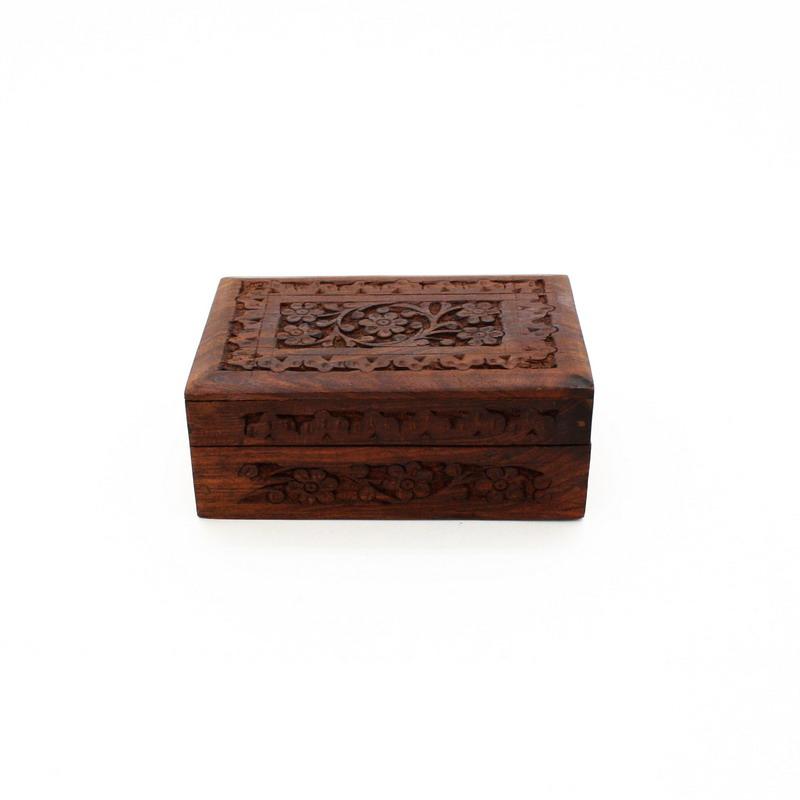 Hand Carved Wooden Storage Box Iai Corporation