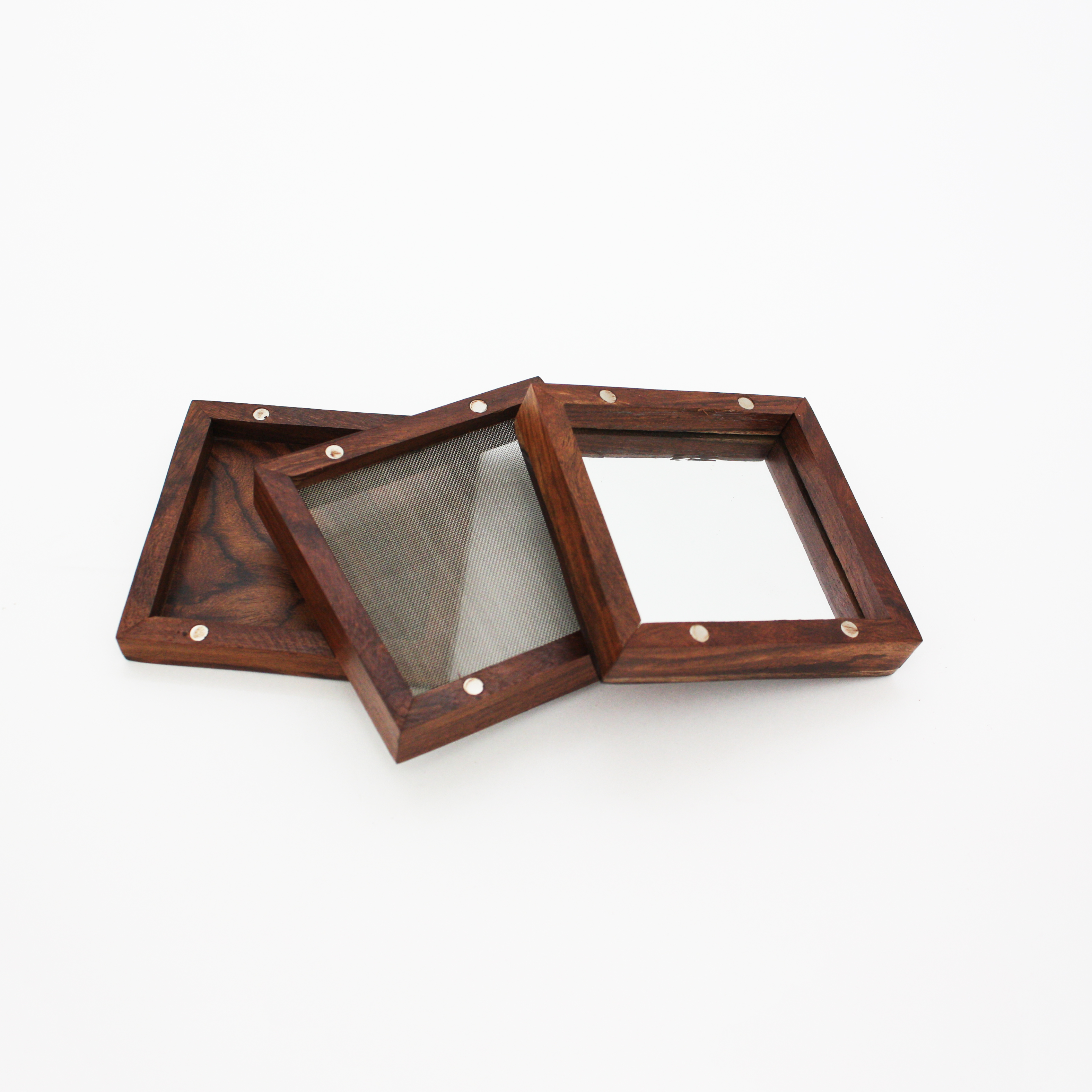 Wooden Pollen Sifter Kief Box With Mirror 44